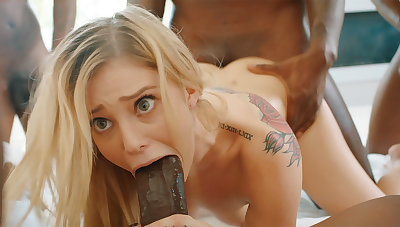Platinum-Blonde's cock-squeezing labia pummeled firm at the end of one's tether phat dark-hued schlongs