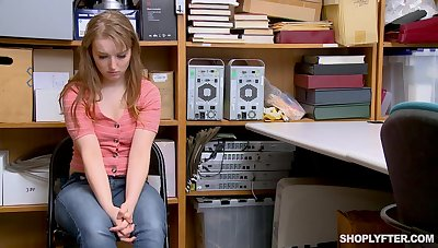 Chubby teen Cleo Clementine stripped and force fucked for shoplifting
