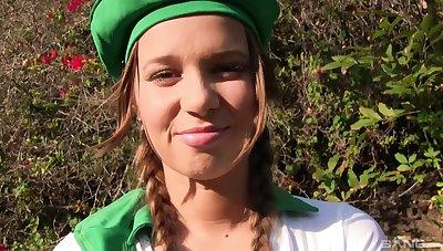 Teen in a slutty uniform Liza Rowe deepthroats and gets pussy fucked