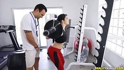 Free and easy Valentina Nappi enjoys sex in an obstacle gym with a lickerish trainer