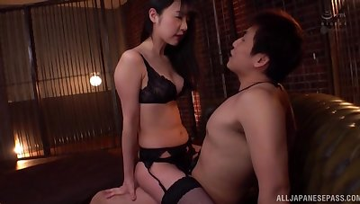 Japanese girlfriend Tsubomi in stockings and lingerie fucked