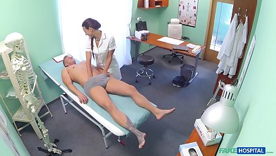 Nurse Mea Melone checks his penis with her indiscretion and they have a passion