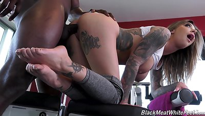 Black jock fucks anal chink and pussy of busty PAWG Karma Rx