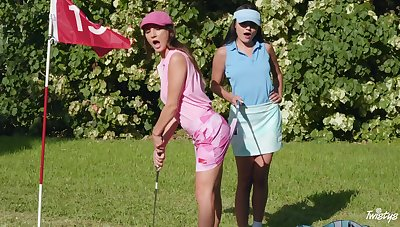 Sexual reverie down at the golf course for duo top lesbians