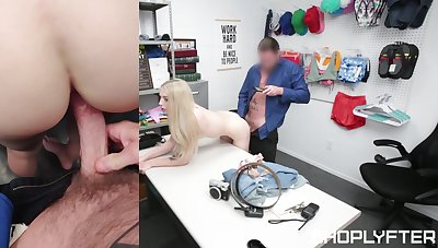 Petite shop lifter gets say no to pussy ruined by the security chief