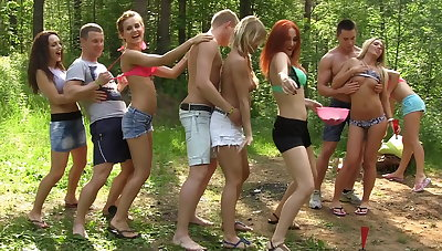 Dirty-minded babes enjoy champagne increased by college DP, part 1