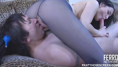 Ripsnorting Fuck, Hetty In Purple Pantyhose And Cute Heels