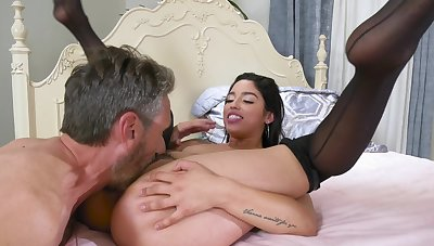 Spicy Latina chick rides her stepdaddy like a pony