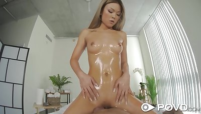 Made in China babe Lulu Chu gets lubed and fucked on POV camera